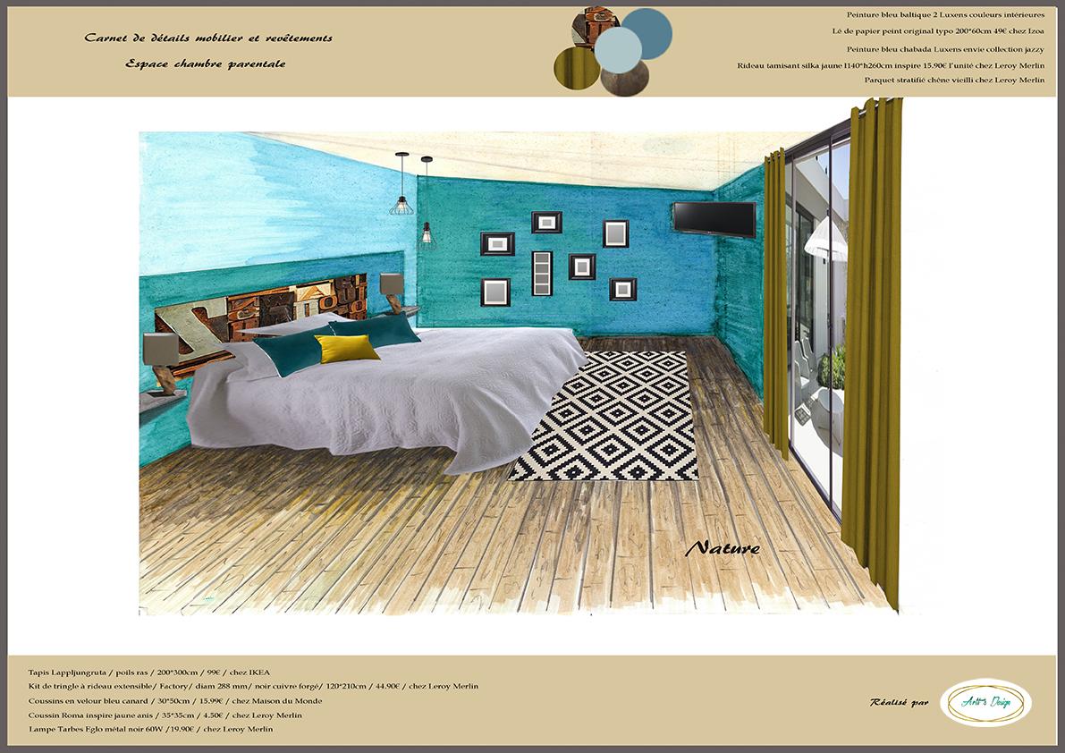 Chambre Parentale Bleu Canard 6 carnet de détails chambre parentale agencement aménagement