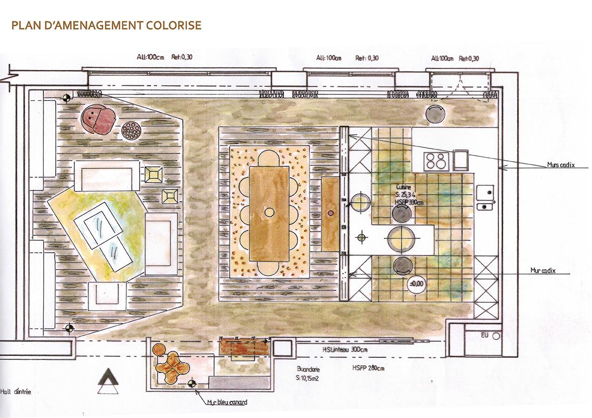 Etude détaillée pour l\'aménagement et la décoration d\'une pièce de ...